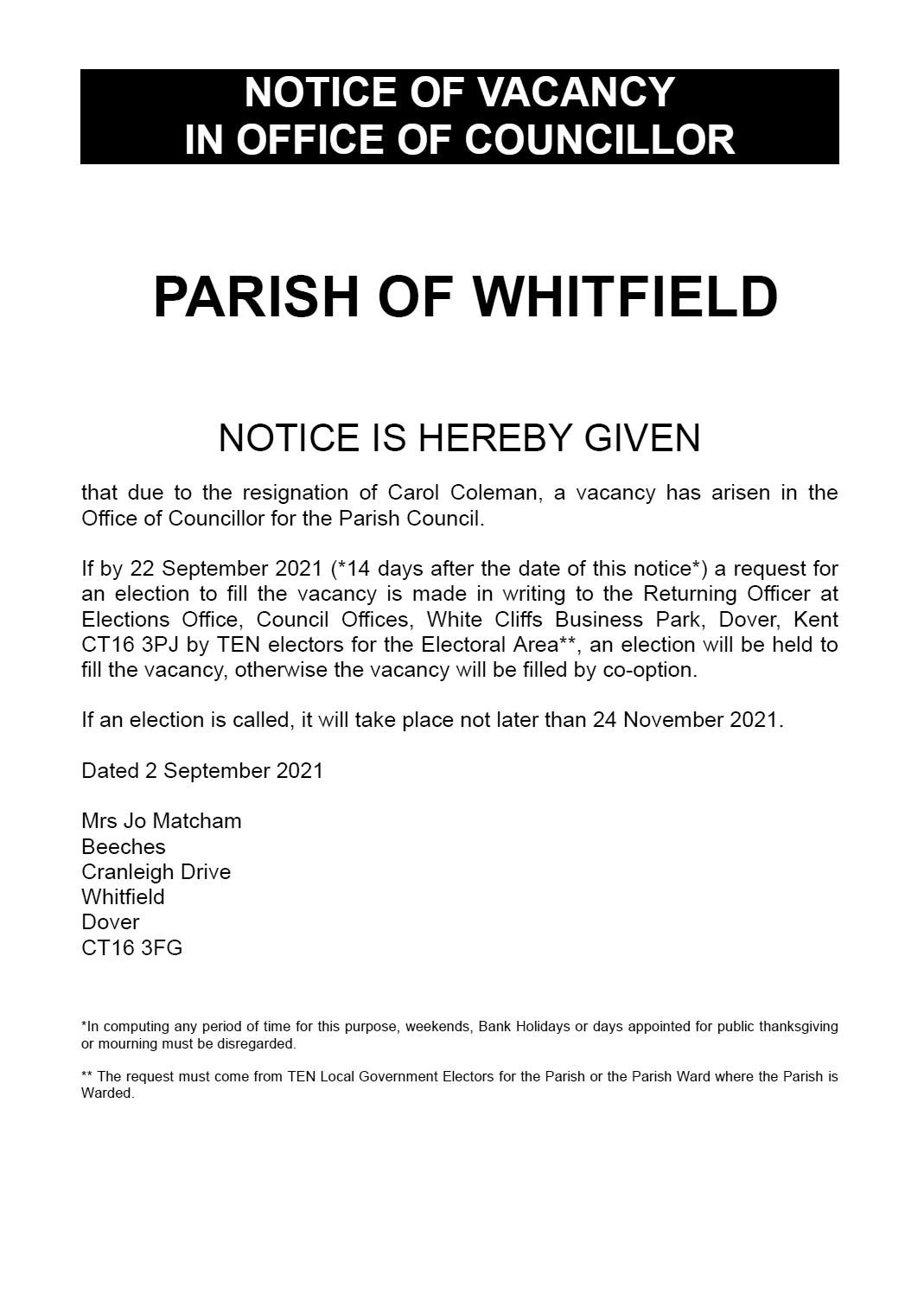 Notice Of Vacancy Cc 2021